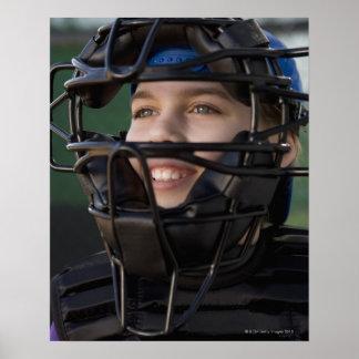 Portrait of little league catcher in mask print