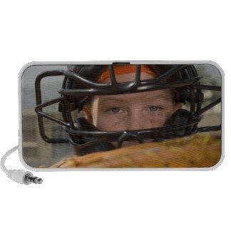 Portrait of little league catcher speakers