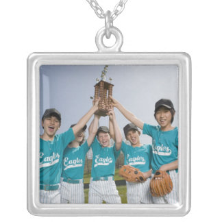 Portrait of little league players with trophy square pendant necklace