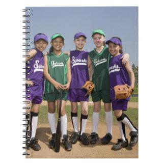 Portrait of little league teams notebook