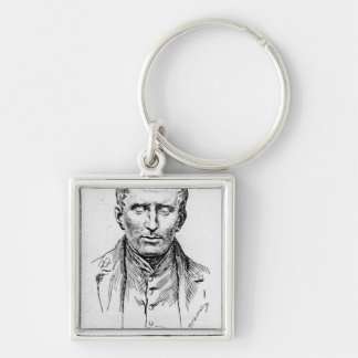 Portrait of Louis Braille Silver-Colored Square Key Ring