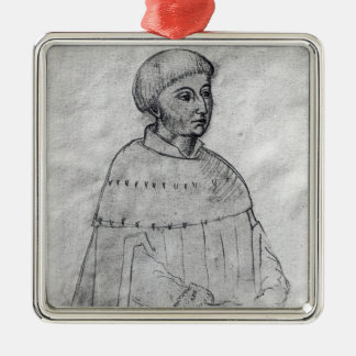 Portrait of Louis XI Silver-Colored Square Decoration