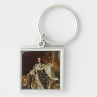 Portrait of Louis XV in his Coronation Robes Silver-Colored Square Key Ring