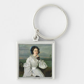 Portrait of Louise Claire Sennegon Silver-Colored Square Key Ring