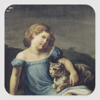 Portrait of Louise Vernet as a Child, 1818-19 Square Sticker