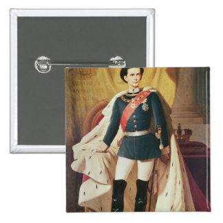 Portrait of Ludwig II of Bavaria in uniform 15 Cm Square Badge