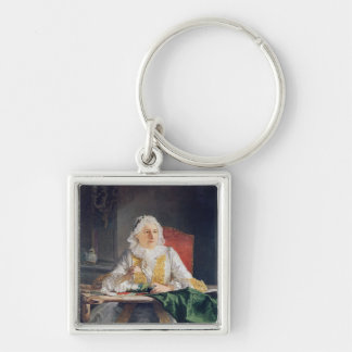 Portrait of Madame Antoine Crozat, 1741 Silver-Colored Square Key Ring