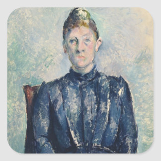 Portrait of Madame Cezanne, c.1890 (oil on canvas) Square Sticker