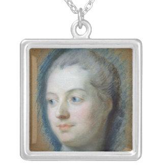 Portrait of Madame de Pompadour  1752 Silver Plated Necklace