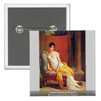 Portrait Of Madame Récamier 15 Cm Square Badge