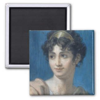 Portrait of Mademoiselle Georges Square Magnet