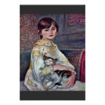 Portrait Of Mademoiselle Julie Manet With Cat Poster