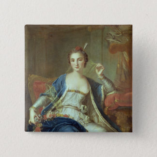 Portrait of Mademoiselle Marie Salle  1737 15 Cm Square Badge