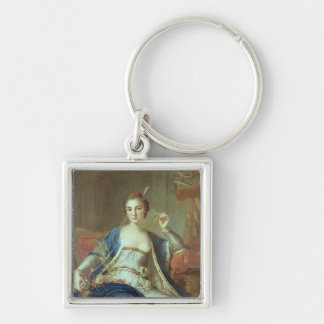 Portrait of Mademoiselle Marie Salle  1737 Silver-Colored Square Key Ring