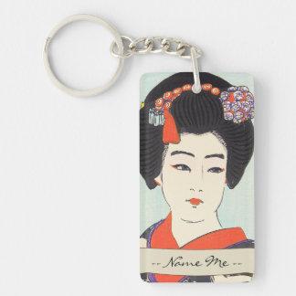 Portrait of Maiko Shunsen Natori japanese fine art Double-Sided Rectangular Acrylic Key Ring