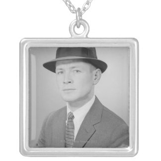 Portrait of Man Silver Plated Necklace
