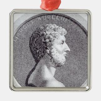 Portrait of Marcus Aurelius Silver-Colored Square Decoration