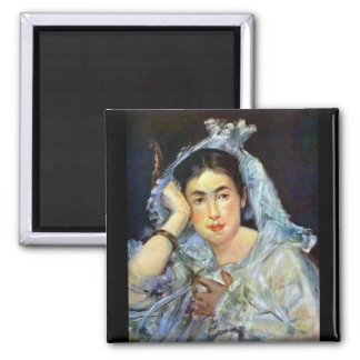 Portrait of Marguerite de Conflans by Manet Square Magnet