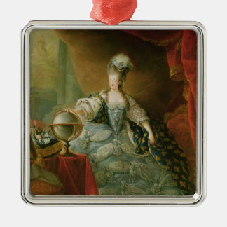 Portrait of Marie Antoinette  Queen of France Silver-Colored Square Decoration