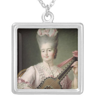 Portrait of Marie-Clothilde of France Silver Plated Necklace