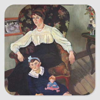Portrait of Marie Coca and her Daughter, 1913 Square Sticker