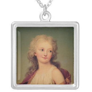 Portrait of Marie-Therese Charlotte of France Silver Plated Necklace