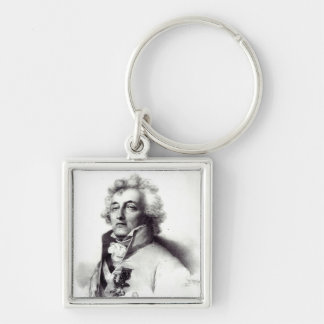 Portrait of Marshal Charles-Joseph  Prince Silver-Colored Square Key Ring
