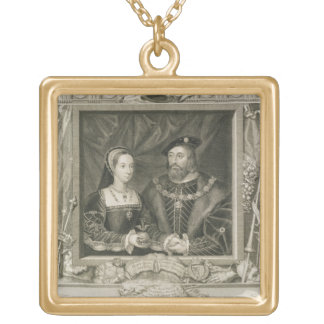 Portrait of Mary (1496-1533) Queen of France, and Gold Plated Necklace