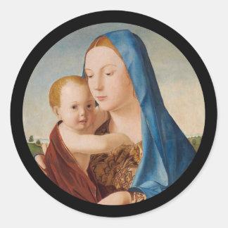 Portrait of Mary Holding  Baby Jesus Classic Round Sticker
