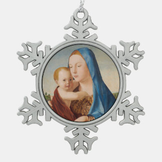 Portrait of Mary Holding  Baby Jesus Snowflake Pewter Christmas Ornament