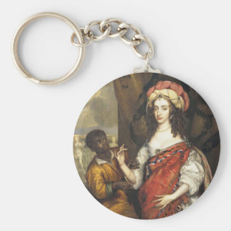 Portrait of Mary Stuart with a Servant Basic Round Button Key Ring