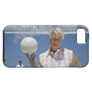 Portrait of mature man holding volley ball on iPhone 5 case