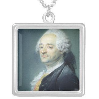 Portrait of Maurice Quentin de la Tour , 1750 Silver Plated Necklace
