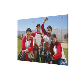 Portrait of Men in a Winning Baseball Team with Canvas Print