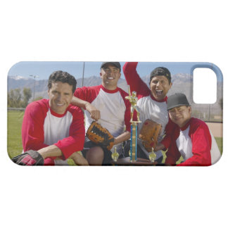 Portrait of Men in a Winning Baseball Team with iPhone 5 Covers