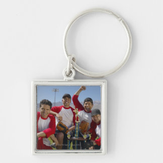 Portrait of Men in a Winning Baseball Team with Silver-Colored Square Key Ring
