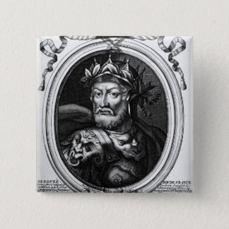 Portrait of Merovech  King of the Salian Franks 15 Cm Square Badge