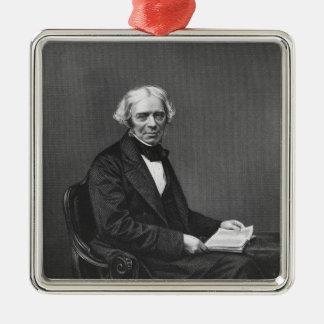 Portrait of Michael Faraday Silver-Colored Square Decoration