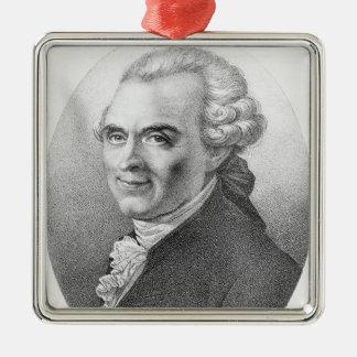 Portrait of Michel-Jean Sedaine Silver-Colored Square Decoration