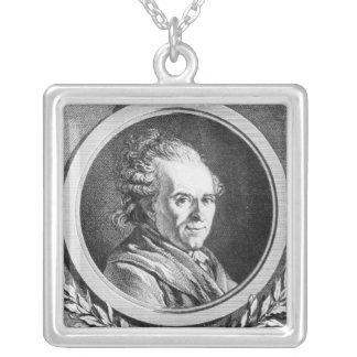 Portrait of Michel-Jean Sedaine Silver Plated Necklace