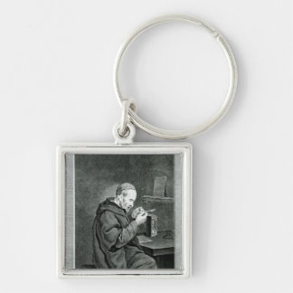 Portrait of Michel Nostradamus Silver-Colored Square Key Ring