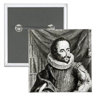 Portrait of Miguel de Cervantes Saavedra 15 Cm Square Badge