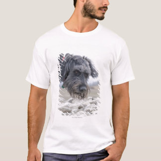 Portrait of mix breed dog, leaning over pebbles. T-Shirt