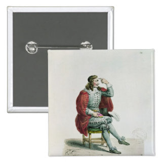 Portrait of Moliere  in the role of Arnolfe 15 Cm Square Badge
