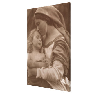Portrait of mother and child (sepia photo) canvas print