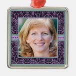 Portrait of Mother in Elegant Purple Damask Photo Ornaments