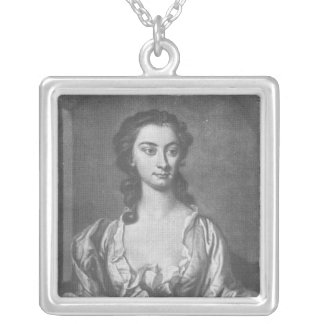 Portrait of Mrs Cibber, Actress and Singer Square Pendant Necklace