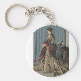 Portrait of Mrs. Gaudibert (1868) Basic Round Button Key Ring