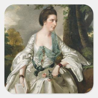 Portrait of Mrs Nicholas Ashton, nee Mary Warburto Square Sticker