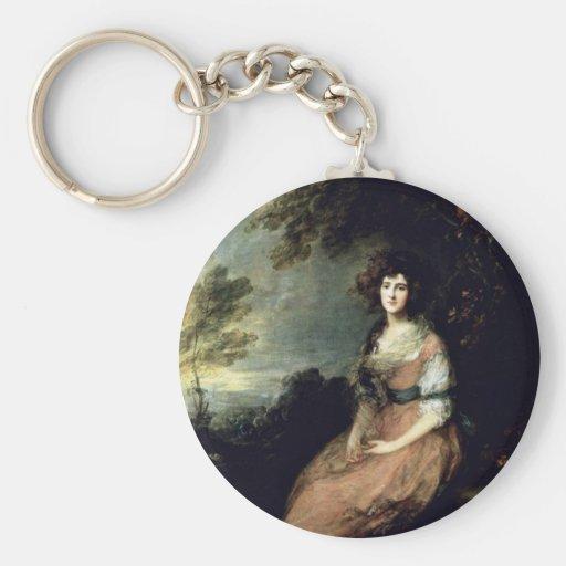 Portrait Of Mrs. Richard B. Sheridan By Thomas Gai Basic Round Button Key Ring